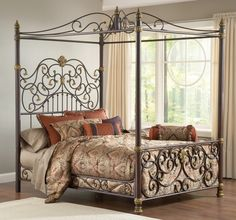 queen bed frame with canopy - Wrought Iron Bed Frame Queen