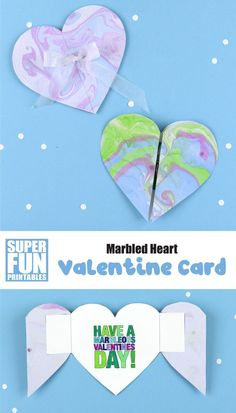 Create a marbled heart Valentine card using a fun process art technique and our printable heart template. The result is a gorgeous DIY valentine to give to somebody special Creative Activities For Kids, Easy Crafts For Kids, Creative Kids, Kid Crafts, Fun Activities, Paper Crafts, Diy Valentines Cards, Valentines For Kids, Valentine Day Crafts