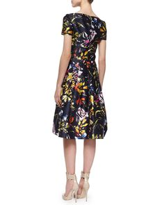V-Neck Abstract Floral-Print Dress, Navy