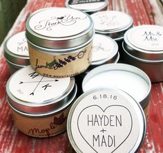 12 custom 6oz soy candle wedding favors / Rustic by mountainess sweet whimsical candle favors are the perfect touches for weddings or showers-