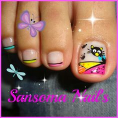 Gato Toenail Polish Designs, Pedicure Designs, Pedicure Nail Art, Toe Nail Designs, Manicure And Pedicure, Gorgeous Nails, Pretty Nails, Gold Glitter Nails, Nails For Kids