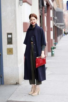 """""""Everyone in our office knows I am obsessed with all manner of coats, but the truth is, when the weather is so unpredictable, you really need lots of options (and slim-line hangers). This look is pretty simple and almost all about the coat, which is vintage with cropped sleeves. It reminds me of something from a Hitchcock movie."""""""