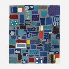 Josef Franks mosaikmatta är en dekorativ komposition av olikfärgade mindre färgfält som för tankarna till porslin, sten eller glas.  - Matta Frank Mosaik, 260x300 cm, Ull, Josef Frank