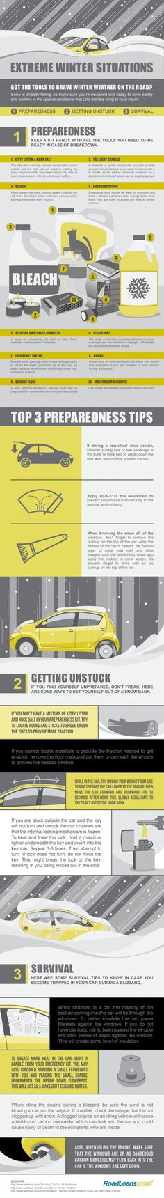 Extreme Winter Situations Infographic get the tools to brave winter weather on the road