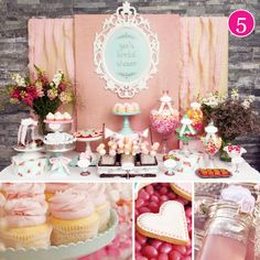 Pink vintage bridal shower or birthday party. (Wildflower bouquets and pretty cake stands).