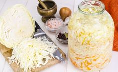 Chopped cabbage for salting Sauerkraut, Cabbage, Dairy, Cheese, Cookies, Canning, Food, Fitness, Crack Crackers