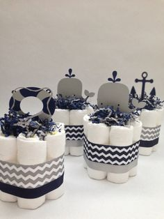 FOUR Navy and Grey Nautical Mini Diaper Cakes Baby Shower Decoration New Baby Gift Nautical Baby Shower Nautical Diaper Cake - Nautical Baby Names - Ideas of Nautical Baby Names - FOUR Navy and Grey Nautical Mini Diaper by MrsHeckelDiaperCakes Baby Shower Cakes For Boys, Baby Shower Parties, Baby Shower Themes, Baby Boy Shower, Baby Shower Gifts, Baby Gifts, Nautical Baby Shower Decorations, Baby Presents, Boy Baby Showers
