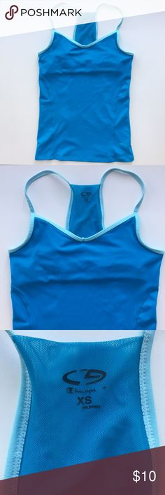 Champion Two Tone Blue Mesh Razorback Tank Top Size Extra Small - Built in sports bra - In Excellent condition - Underarm to underarm: 13.5 in // Length: 23 in Champion Tops Tank Tops