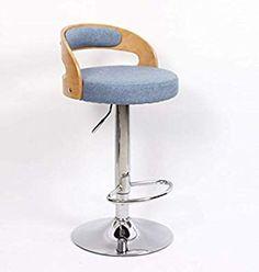HQCC Modern Minimalist Solid Wood Bar Stool Chair Lift Bar Chair Front Back Stool Nordic Rotation Creative (Color : Dark Blue) Bar Stool Chairs, Wood Bar Stools, Creative Colour, Modern Minimalist, Solid Wood, Dark Blue, Color, Furniture, Home Decor