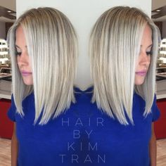 Choose the ideal color for your Square Cup  #choose #color #ideal #square Blonde Short Hair Cuts, Blonde Lob Hair, Babylights Blonde, Long Bob Blonde, Blonde Bobs, Baylage, Kim Tran, Long Long Bob, Straight Long Bob