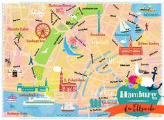 Hamburg map by Elisandra 2014