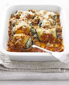 Low FODMAP Recipe and Gluten Free Recipe - Eggplant rolls with spinach & feta http://www.ibssano.com/low_fodmap_recipe_eggplant_rolls_feta.html