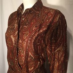 Vintage Petite Small PS Ruff Hewn Rust Brown Paisley Ralph Lauren Influenced 2 Piece Dress Long Sleeve Shirt Wrap Skirt Made in USA 90s by CarolinaThriftChick on Etsy