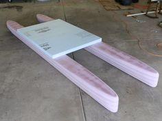 Fly-Carpin: DIY Standamaran Stand Up Paddleboard Plans Kayak Paddle, Canoe And Kayak, Small Pontoon Boats, Kayak Cart, Boat Stands, Small Sailboats, Build Your Own Boat, Boat Kits, Standup Paddle Board
