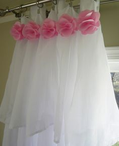 White Ruffle curtains with Pink Flowers You choose by NikiPfeiffer Girls Bedroom Curtains, Ruffle Curtains, White Curtains, Princess Room, Pink Blossom, Girl Room, Home Deco, Pink Flowers, Tulle