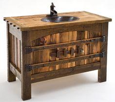 reclaimed wood bathroom vanities | Barnwood Furniture, Rustic Furnishings, Log Bed, Cabin Decor, Harvest ...