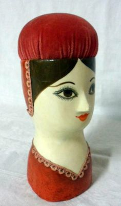 Signed, Fred Sexton/ Gemma Taccogna Paper Mache  Lady Head Pin Cushion, 1970's.