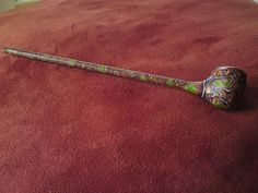 Vintage unusual well made tobacco pipe with colourful marble pattern