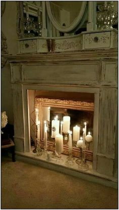 20 Simple Ways to Decorate a Fireplace & Mantle with Flameless Candles - Easy l. - 20 Simple Ways to Decorate a Fireplace & Mantle with Flameless Candles – Easy living room firepl - Fireplace Mantel Decor, Candles In Fireplace, Living Room With Fireplace, Christmas Fireplace, Minimalist Decor, Mantle Decor, Home Decor, Flameless Candles, Fireplace