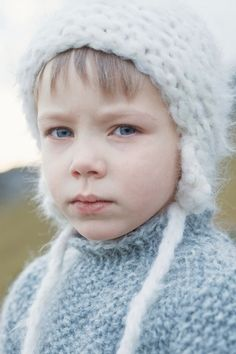 boys kids mohair sweater and hat, photo from gudrungudrun knitting pattern, fuzzy fluffy childs childrens