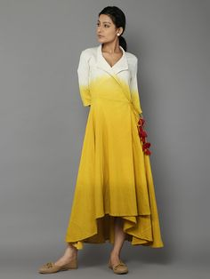 "Description: It's a high low yellow shaded angarakha dress with red tassels Length of the dress is 54"". Size Chart  - These are garment measurements. S - Chest"