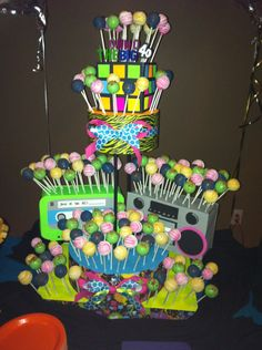 80's cake pop centerpiece for Paramount Players candy gram table! Aug. 1-3