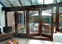 Timber Conservatory in Stafford with Bi Folding Doors Folding Doors, Bespoke Design, Conservatory, Walkway, Yard Art, Pergola, Outdoor Structures, Windows, Traditional