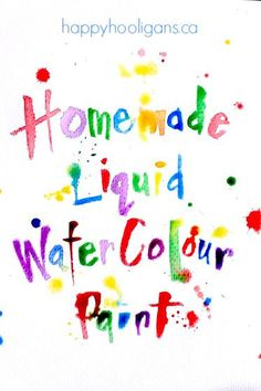 Vibrant, HOMEMADE LIQUID WATERCOLOURS you can make without spending a dime!  With this easy process, you can turn your dried out washable markers into liquid watercolour paint for all of your art and science activities at home, preschool or in the classroom. - Happy Hooligans