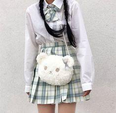 Multiple Style Soft Plush Backpack Crossbody Bag Korean Japanese Anime Kawaii Cute Free Gift Bear Keychain  Round Pocket Pins Cartoon
