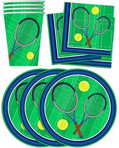 Tennis Birthday Party Supplies Set Plates Napkins Cups Tableware Kit for 16 by Birthday Galore: Tennis Birthday Party Tableware Kit for 16 Guests 7 Inch Paper Plates Paper Cups Napkins Birthday Supplies, Party Supplies, Tennis Party, Twisted Metal, Paper Plates, Paper Cups, Ballpoint Pen, Napkins, Kids Rugs
