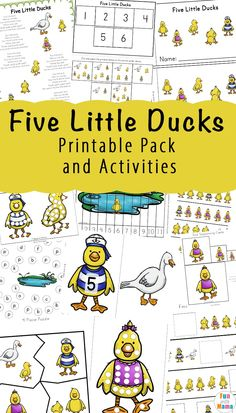 A fun bundle of Five Little Ducks counting activities. This is perfect for kids who are just learning to count or may need a little extra practice. With a fun theme and engaging activities, kids will enjoy every single page! #preschool #fivelittleducks #bookcrafts #artideas #doadot #resource #homeschool
