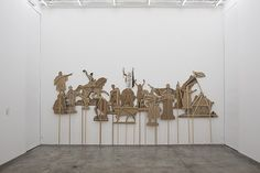 Nicolás Robbio, Monuments for an American Tale, 2017. Cardboard, wood and screws