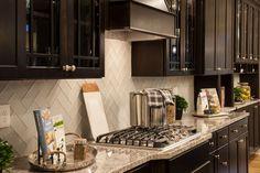 Color Waves - Ice Water in herringbone pattern Kitchen Backsplash, Kitchen Cabinets, Kitchen Themes, Kitchen Ideas, Planning Board, Herringbone Pattern, New Homes, Interior Design, The Originals