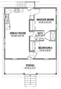 16x30 1 Bedroom House 16x30h1 480 Sq Ft Excellent Floor Plans When I Build The Addition Pinterest Small Houses Garage Plans And Guest