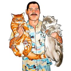 Freddie and cats Queen Banda, Musica Love, Queen Drawing, Queen Art, We Will Rock You, Somebody To Love, Queen Freddie Mercury, Killer Queen, Cultura Pop