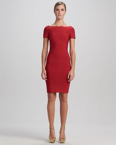 Boat-Neck Bandage Dress by Herve Leger -BAOW! sexy dress defo only worn to work and to a daytime social occasion event.