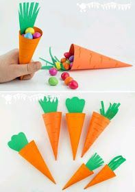 Simple paper carrot cones, perfect for little Easter. Simple paper carrot cones, perfect for little Easter. Simple paper carrot cones, perfect for. Easter Arts And Crafts, Easter Projects, Bunny Crafts, Easter Crafts For Kids, Toddler Crafts, Spring Crafts, Holiday Crafts, Craft Projects, Craft Ideas