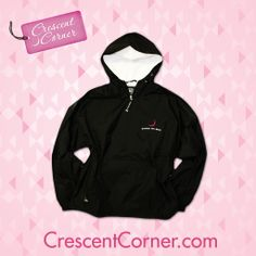 April showers bring… a #TrendyThursday winner! Like or pin for a chance to win this ΓΦΒ rain jacket & all Crescent Corner items featured in April! #GammaPhiBeta #CrescentCorner