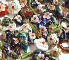 '100 Cloisonne Beads in Many Colors and Shapes' is going up for auction at 12pm Sat, Dec 15 with a starting bid of $5.