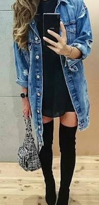 Blue Denim Jacket  43 Lovely Casual Outfit for Fall and Winter - Style Spacez