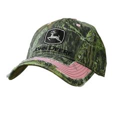 John Deere Pink and Camo Distressed Hat