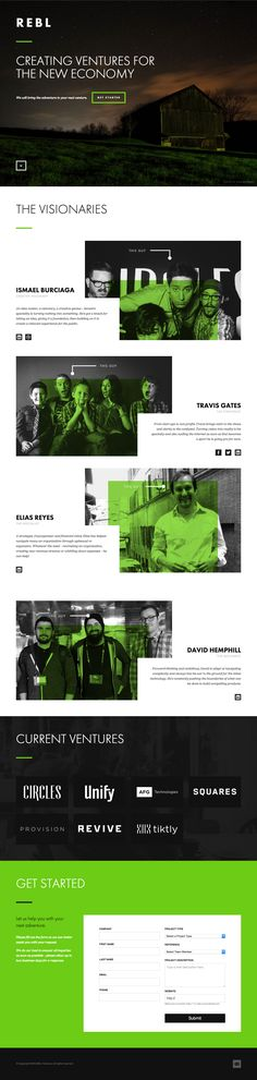 One Pager for REBL Ventures featuring quite a neat responsive adaption of the team section.