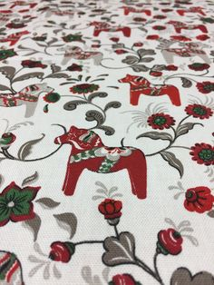 Christmas tablecloth white with red and beige Swedish Dala Horses,  Scandinavian Design, Christmas tablecloth, Christmas gift by SiKriDream on Etsy
