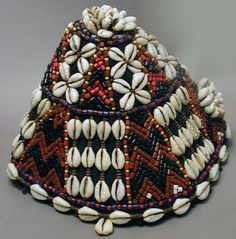 Africa   Ceremonial hat from the Kuba people of DR Congo.  Cotton, glass beads and plant fiber.  ca. 50+ years old