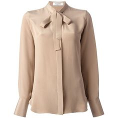 VALENTINO pussy bow blouse (1,385 CAD) ❤ liked on Polyvore featuring tops, blouses, shirts, blusas, banded collar shirts, brown blouse, brown silk blouse, silk bow blouse and long sleeve silk blouse