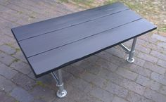 Industrial Style Reclaimed Scaffolding Coffee Table Medium with Black Stain - www.reclaimedbespoke.co.uk