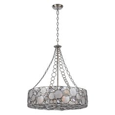 Crystorama 528-SA Palla Chandelier - 24.75W in. - Antique Sliver
