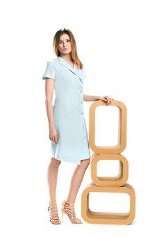 Miętowa asymetryczna sukienka dress code. Minty dress code dress.