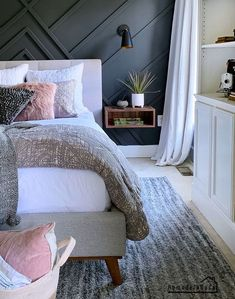 To save space try swapping your bedside table for one of these stylish crafty floating nightstands. To save space try swapping your bedside table for one of these stylish crafty floating nightstands. Design Furniture, Bedroom Furniture, Bedroom Decor, Pallet Wall Bedroom, Furniture Ideas, Diy Nightstand, Floating Nightstand, Floating Shelves, Modern Bedside Table