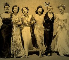 Principal cast of the 1939 film classic THE WOMEN | left to right: Rosalind Russell, Joan Crawford, Norma Shearer, Paulette Goddard, Mary Boland and Joan Fontaine.